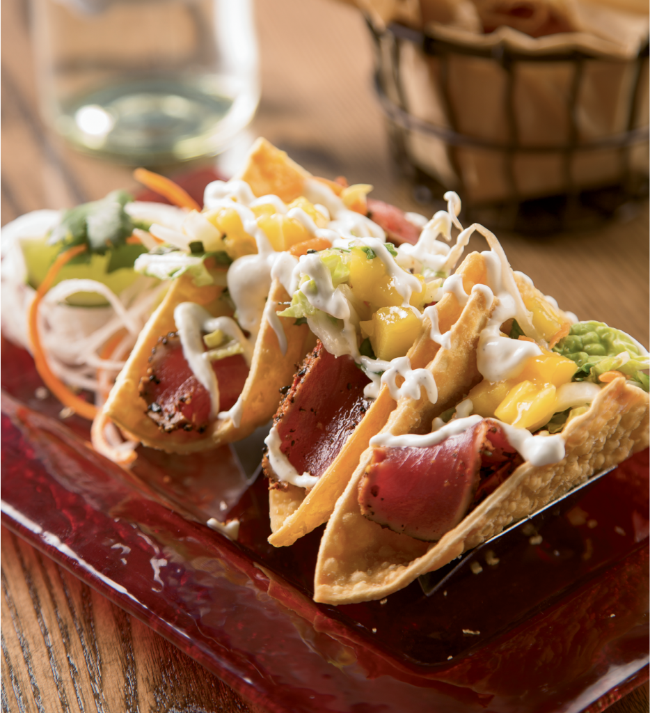 Tuna Temptations: The Oyster Rock in Calabash serves up fetching, fresh takes on the usual Calabash-fried seafood plates, like this seared Ahi tuna folded into crispy wonton pockets.