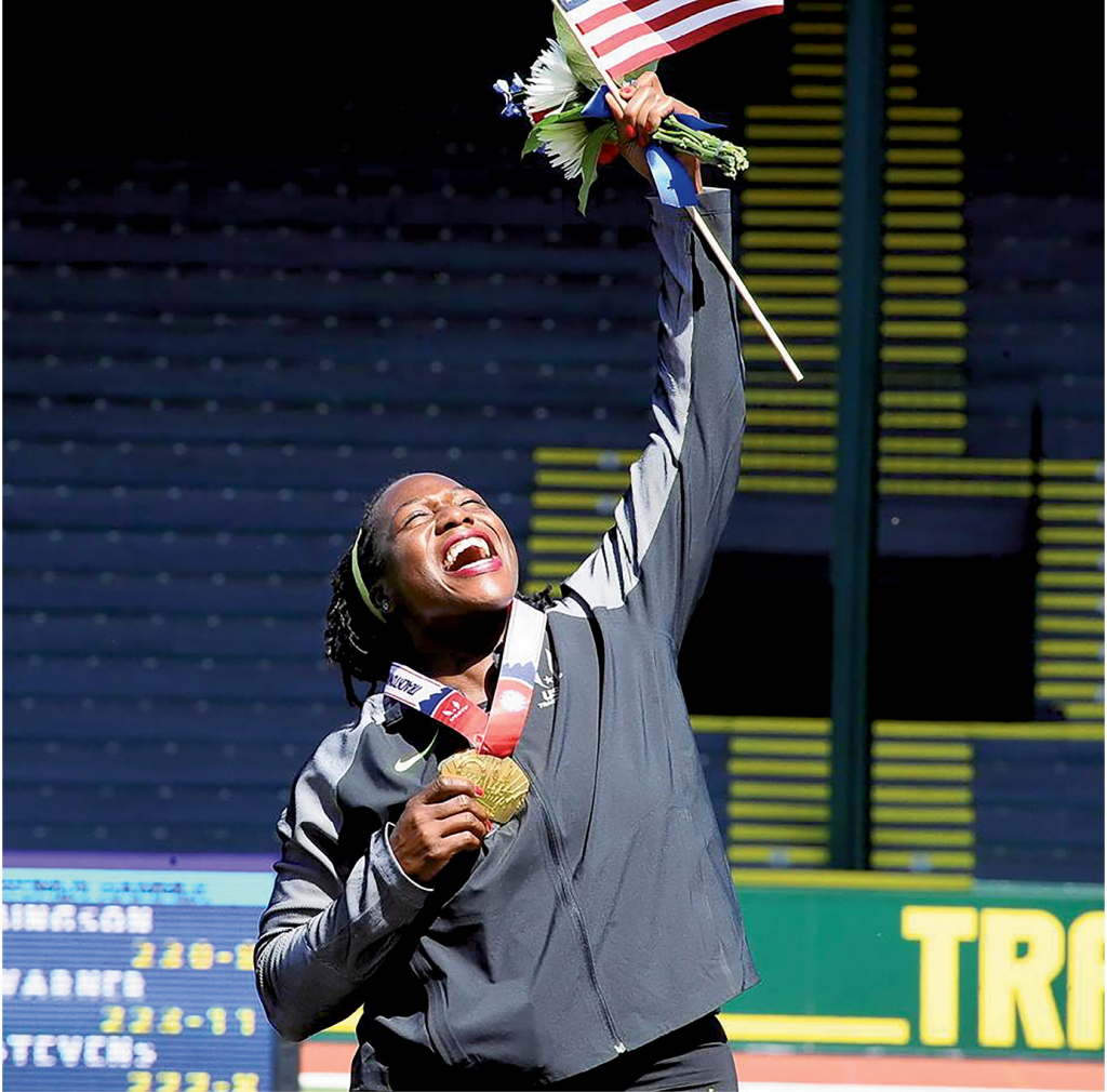 Campbell is pictured here at one of her many medal ceremonies.