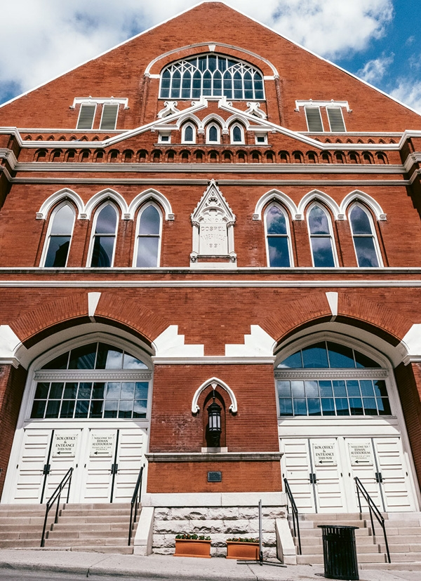 The Ryman Auditorium was originally built as an evangelist's tabernacle in 1892. It served as the home of the Grand Ole Opry from 1943–1974.