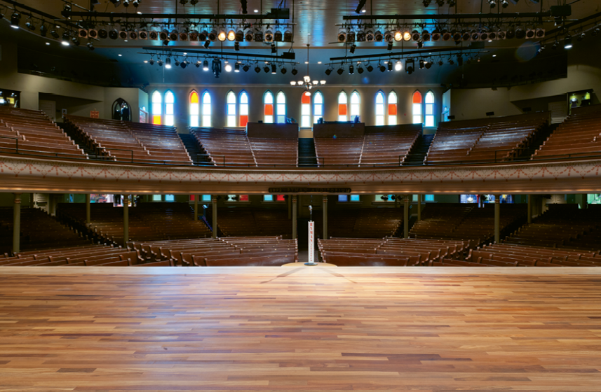 The design and original all-wood interior of the 2,300-seat Ryman Auditorium is known for its superior acoustics and its aesthetics.